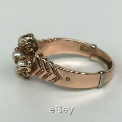Antique Victorian Etruscan Revival Estate 10K Rose Gold Seed Pearl Ring Sz 6.75