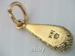 Antique Victorian Etruscan Solid 14k Gold Seed Pearl Teardrop Charm