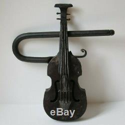 Antique Victorian Figural Cast Iron Violin Shaped Estate Gate Lock & Key Rare