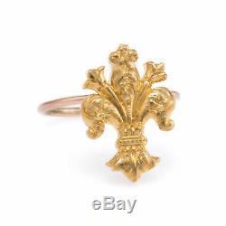 Antique Victorian Fleur de Lis Conversion Ring Vintage 14k Yellow Gold Estate