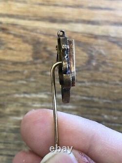 Antique Victorian GOLD & GOLD IN QUARTZ Stick Pin ENAMELED & Large ESTATE FIND