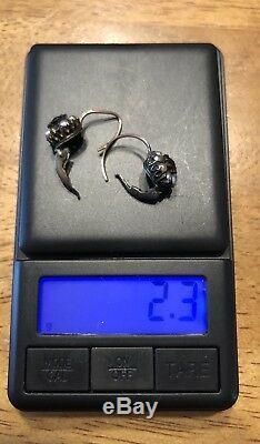 Antique Victorian Garnet Pearl Gold & Silver Pierced Earrings-Estate