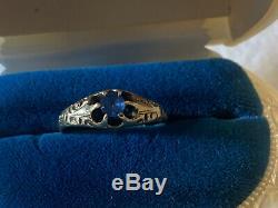Antique Victorian Gold Belcher Style Cornflower Sapphire Ring 875 21k Estate