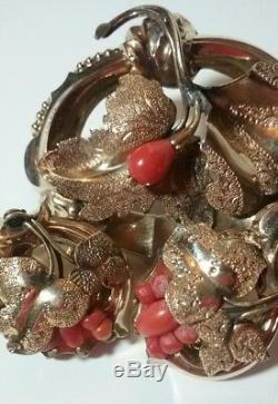 Antique Victorian Gold Filled Coral Brooch & Earrings Vintage Estate Jewelry Set