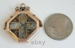 Antique Victorian Gold Quartz Carnelian Cross Locket 10K Gold Estate Jewelry 14g