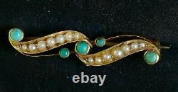 Antique Victorian Gold Turquoise Pearl 15ct Brooch Bar Pin Estate Jewelry 3.4gm