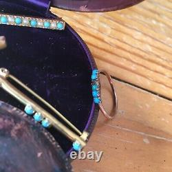 Antique Victorian Gold Turquoise Pearl Bar Pins/Brooch & Ring -Estate Collection