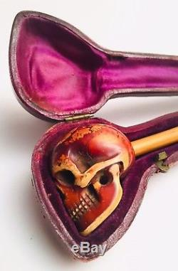 Antique Victorian Human Skull Tobacco Pipe Bowl With Original Leather Case 1800s