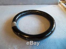Antique Victorian Jet Black Mourning Bangle bracelet Rare estate jewelry