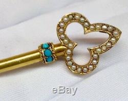 Antique Victorian Key Brooch WithSeed Pearls Turquise Solid 14K Yg Fine Estate