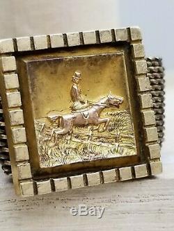 Antique Victorian Lady Equestrian Gold Filled Mesh Chain Slider Tassel Bracelet