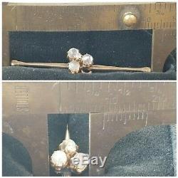 Antique Victorian Moonstone Diamond Clover 10k Gold Pin Brooch-Estate Jewelry