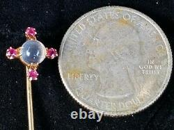 Antique Victorian Moonstone Ruby 14k Gold Stick Pin Lapel Pin Estate Jewelry