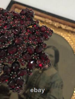 Antique Victorian Multi Tier Bohemian Rose Cut Garnet Silver Pin Brooch