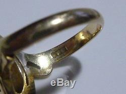 Antique Victorian Nouveau 14k Yellow Gold & Coral Womens Estate Ring Size 3.75