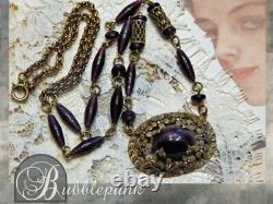 Antique Victorian Nouveau Purple Glass Flower Pendant Necklace Estate Jewelry