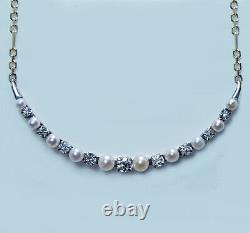 Antique Victorian Old European Diamond Pearl Necklace 14K Gold Platinum Estate