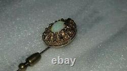 Antique Victorian Opal Yellow Gold Stick Pin Estate Jewelry