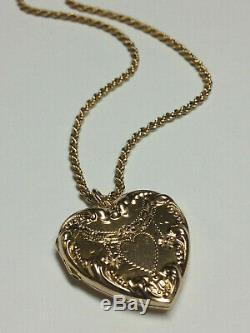Antique Victorian Ornate 10k Gold Heart Locket Pendant, Necklace 14k Rope Chain