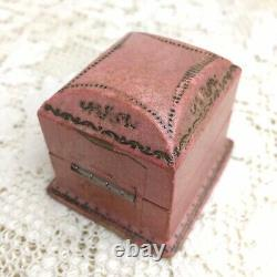 Antique Victorian Presentation Ring Box Rose Pink Dome Top Velvet Lined Germany
