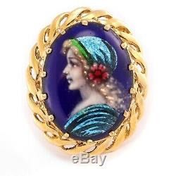Antique Victorian R. Philippon 14k Yellow Gold Blue Enamel Portrait Cameo Ring