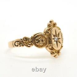 Antique Victorian Rose Cut Diamond Starburst Yellow Gold Ornate Estate Ring
