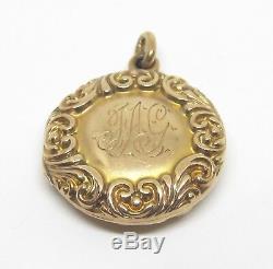 Antique Victorian Round Diamond Locket Pendant 10k Gold Estate Mothers Day