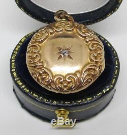 Antique Victorian Round Diamond Locket Pendant 10k Gold Estate Valentines Day