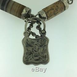 Antique Victorian Scottish Silver+Agate StonesPadlock BraceletCirca 1860Estat