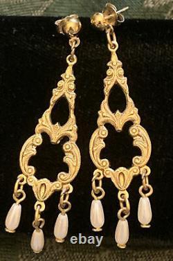 Antique Victorian Seed Pearl Gold Tone Filigree Lavalier Pierced Dangle Earrings