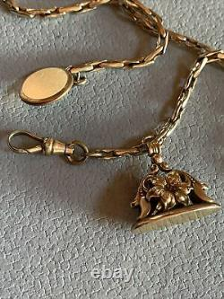 Antique Victorian Simmons Gold Fill Watch Chain & Gold Fill Fob Wax Seal Ornate