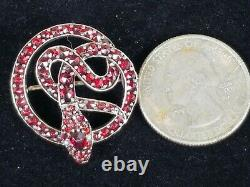 Antique Victorian Snake Serpent Garnet Pearl Gilted Brooch Pin Estate Jewelry