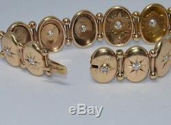 Antique Victorian Solid 10K Gold 1.25ct Diamond Bracelet Star Set Estate BEAUTY