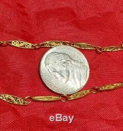 Antique Victorian Solid 14K Yellow Gold Filigree Chain Necklace Watch Fob 20.5