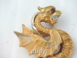 Antique Victorian Solid 14k Gold Diamond & Ruby Eye Winged Dragon Charm