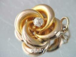 Antique Victorian Solid 14k Gold & Mine Cut Diamond Lovers Knot Charm