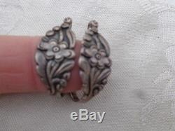 Antique Victorian Sterling Floral Repousse Pierced Wire Earrings Old Estate