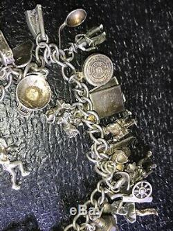 Antique Victorian Sterling Souvenir Charm Bracelet Estate Find