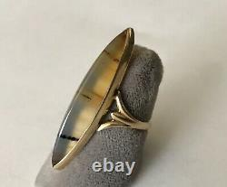 Antique Victorian solid 14k Yellow Gold Agate Estate Vintage Ladies Ring size 5