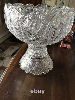 Antique Vintage American Brilliant Large 2 Piece Cut Glass Punch Bowl Estate Fin