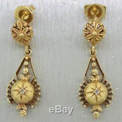 Antique Vintage Estate 14k Yellow Gold 0.04ctw Diamond Victorian Style Dangle Ea