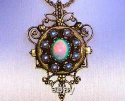 Antique Vintage Estate Victorian Solid Australian Opal 14K Gold Pendant Appraise
