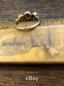 Antique Vintage Victorian 14k Gold Madera Topaz Ring Rare 1880s Estate Piece