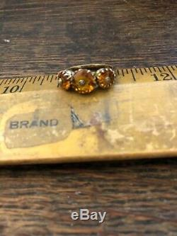 Antique Vintage Victorian 14k Gold Madera Topaz Ring Rare 1880s Estate as is