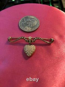 Antique Vintage Victorian 14k Seed Pearl Heart Pin Gorgeous Estate Piece Rare