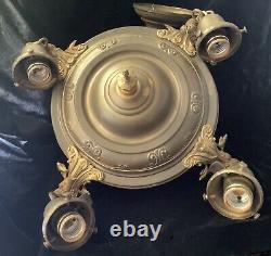Antique Vintage Victorian ART DECO NOUVEAU Brass 4 LIGHT CHANDELIER + Canopy