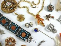 Antique Vintage Victorian Art Deco Nouveau Jewelry Lot Gold Silver Tone Estate 2