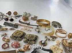 Antique Vintage Victorian Art Deco Nouveau Jewelry Lot Gold Silver Tone Estate A