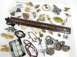 Antique Vintage Victorian Art Deco Nouveau Jewelry Lot Gold Silver Tone Estate K