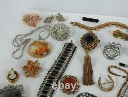 Antique Vintage Victorian Art Deco Nouveau Jewelry Lot Gold Silver Tone Estate M
